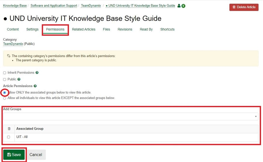 From the drop-down inAdd Groups, selectthe groups you want to have access to the article.