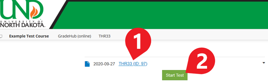 On the next page, click the exam's title again to expand the GradeHub menu. Then click 'Start Test' to begin the exam.