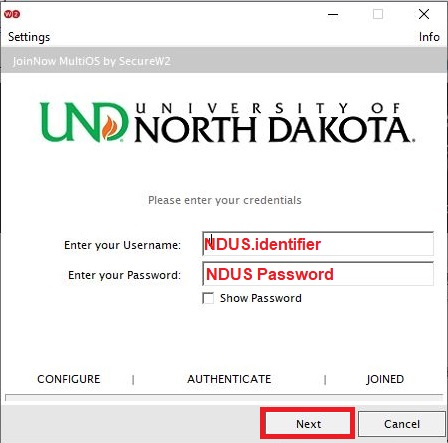 In the new log in window, enter your NDUScredentials and clickNext.