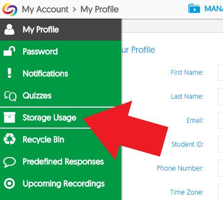 storage usage menu