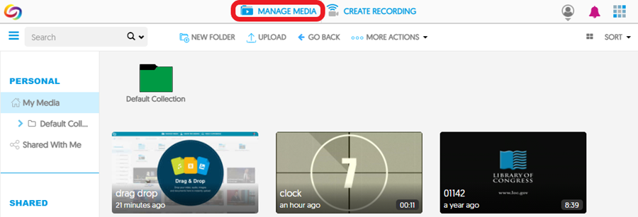 Once logged in to YuJa, click 'Manage Media' to open your 'My Media' page.