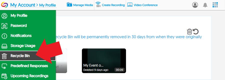 Screenshot: YuJa > My Account > Recycle Bin menu