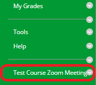 locate the Zoom link in your Bb course's menu