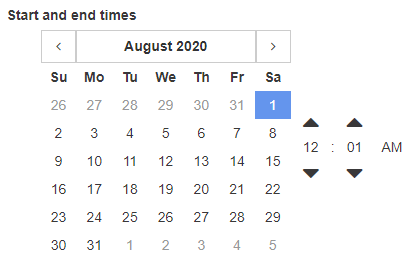 Click the calendar button to access the expanded, monthly/yearly calendar.
