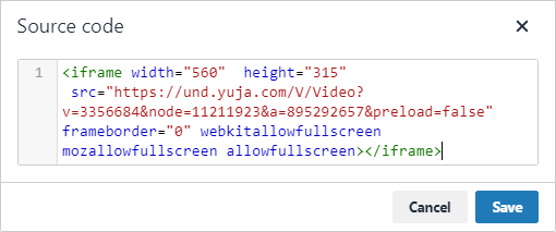 In the 'Source code' pop-up: paste the 'Direct Link' code into the text box, and click 'Save'.