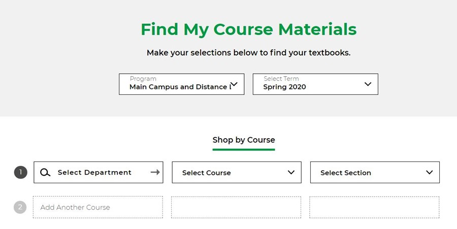 Screenshot of 'find my course materials' search screen.