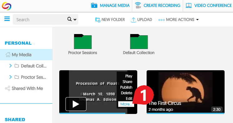 hover over the video thumbnail & click More… to open the Manage Media menu