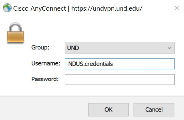 Enter your NDUS credentials and click OK.