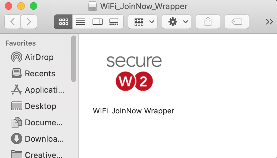 Open Finder and runWiFi_JoinNow_Wrapper.dmg.