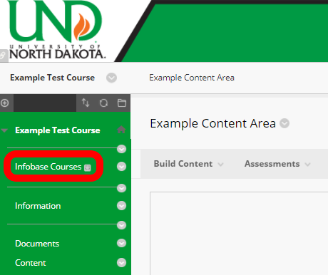 Select the content area where you would like to add the Infobase link.
