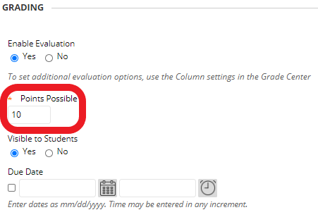 GradeHub exam set up (earlier step) - enter the exam's total points (excluding extra credit) in the 'Points Possible' field