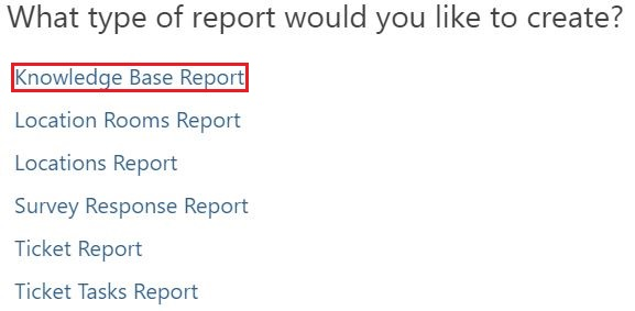 From the list provided, select Knowledge Base Report.