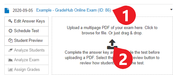 Return to the main page for this GradeHub Online exam, then click the upload icon (or click and drag files to the same space).