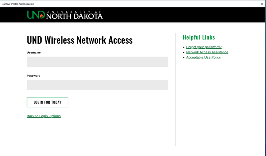 Enter your UND Username and Password.