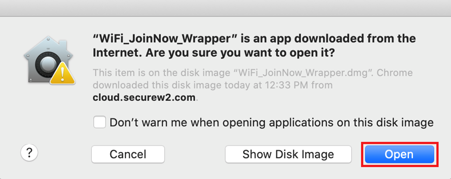 If the window pops up asking if you want to open the app downloaded from the internet?clickOpen.