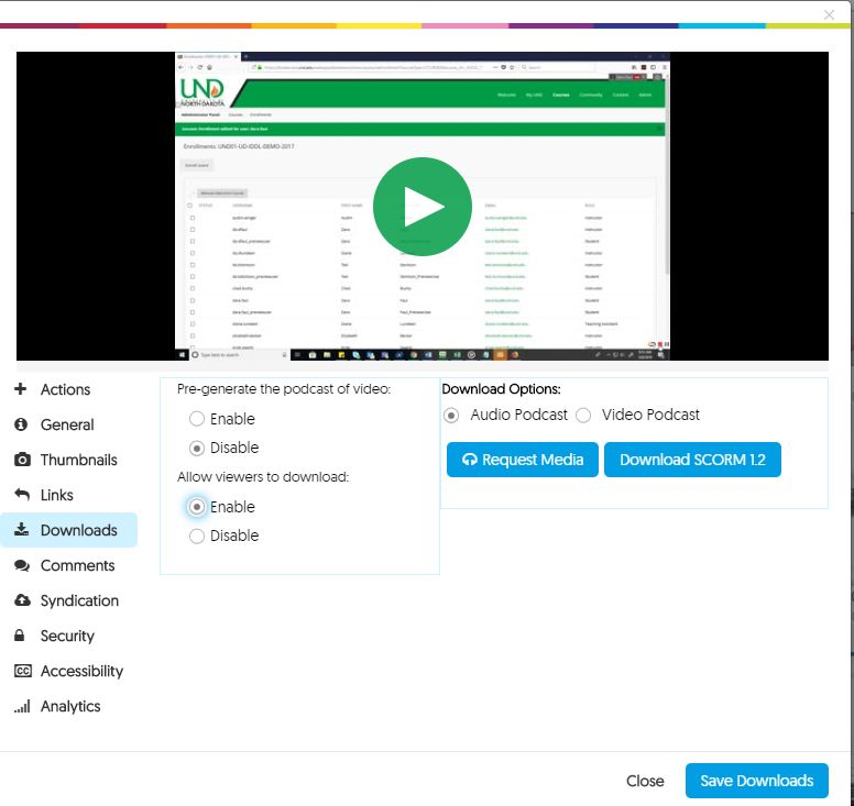 Image of Download Options in YuJa