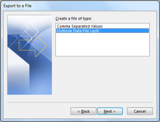 SelectOutlook Data File (.pst), and selectNext.