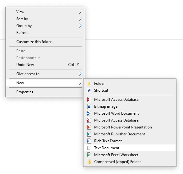 From the same folder the .jar file is located, right-click empty space and select New> Text Document.