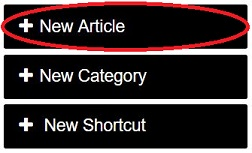 Navigate to the Category and sub-category that your knowledge best fits in and on the upper right, select +New Article.
