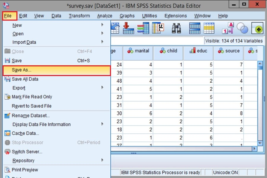 """Now, to save a Dataset you""""ve worked on in SPSS, in the top navigation, clickFile, and thenSave As."""