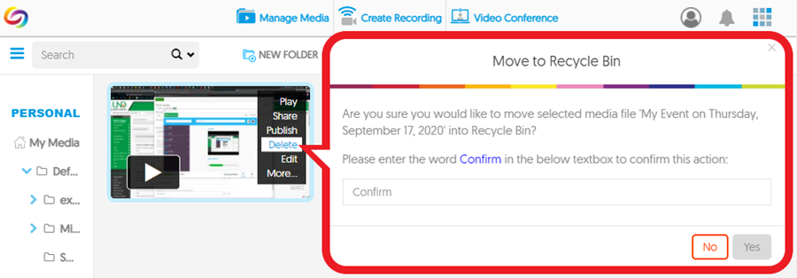 Screenshot: YuJa delete media menu > type to confirm