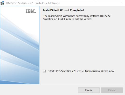 When the installationcompletes,Start SPSSStatistics 27 License Authorization Wizard nowshould be checked.ClickFinish.