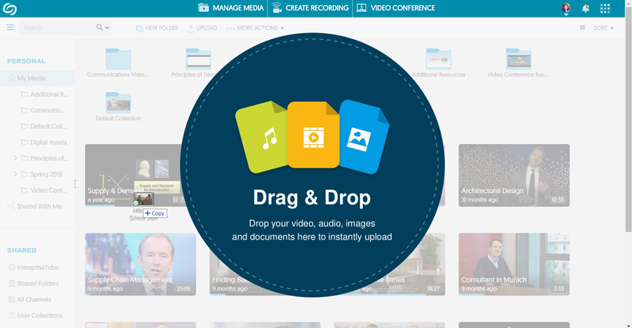Navigate to the file on your computer, and drag/drop it into the YuJa window. The upload will begin automatically