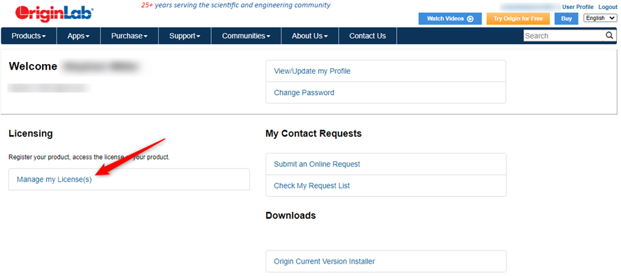 Log into your OriginLab account and go to your user profile.