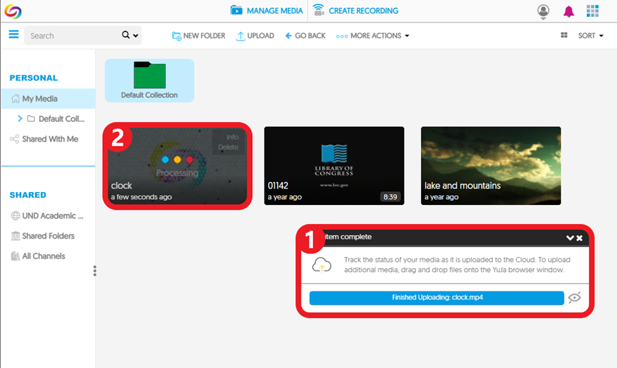 A pop-up displays the file upload status, and the video thumbnail indicates whether the video is still being ingested (prepared to play on different devices).