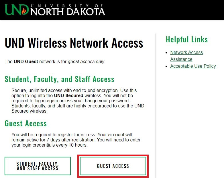 Select the Guest Access button.