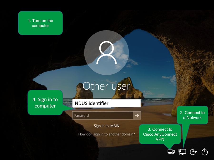 Steps to create a Windows profile from off campus