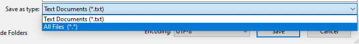 Near the bottom of the Save As window, click the menu that says Save as type:, and select All Files.
