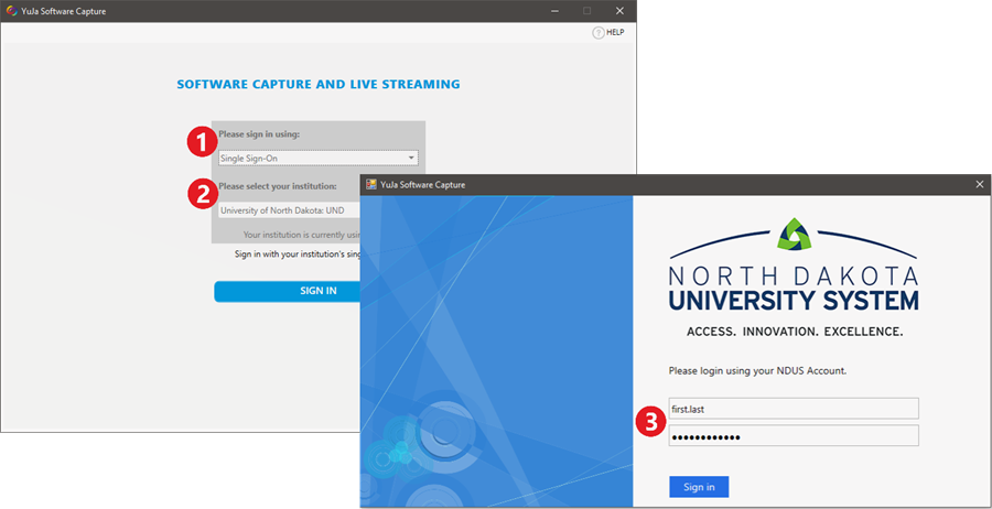 Sign in using: single sign-on at University of North Dakota UND, using your NDUS.Identifier username (first.last) and password (same as your email).