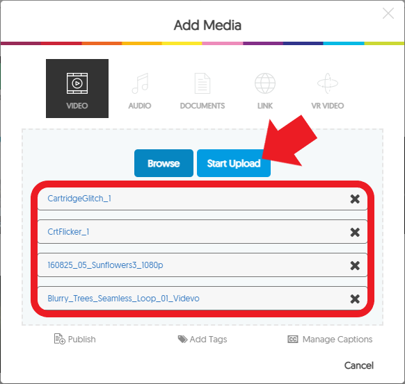 After selecting all files, click 'Start Upload' to add the files to your YuJa folder.