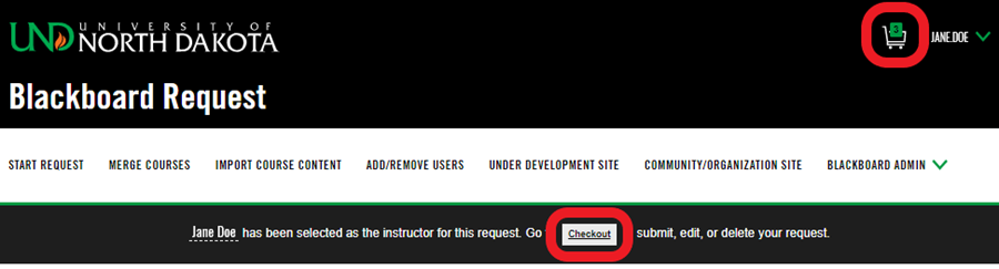 Screenshot: Bb request form - final step: cart icon or checkout link