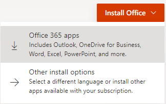Options for Install Office.