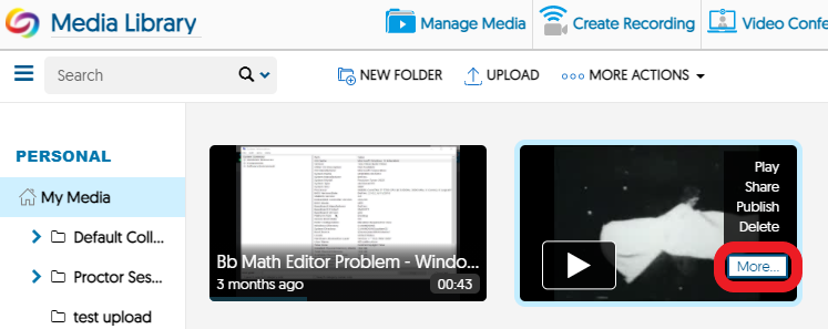 Hover over the video to bring up a pop-up menu, then click 'More...'.