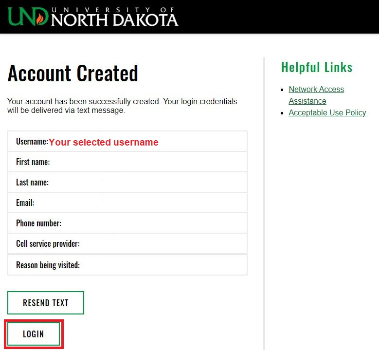 ou will get anAccount Createdconfirmation page displaying your information and credentials.