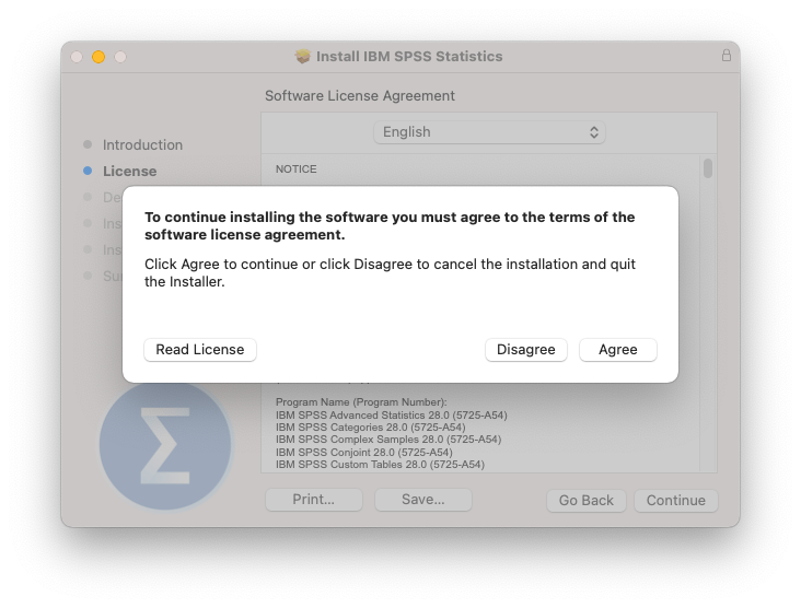 On the Software License Agreement screen, click Continue, then Agree