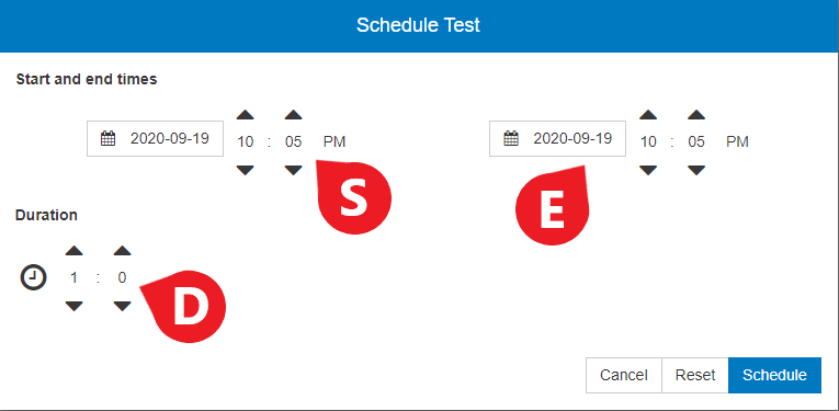 Set the exam availability start and end dates/times, then click 'Schedule' to save your changes.