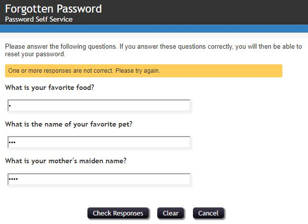 Correct answers will lead you to reset your password.