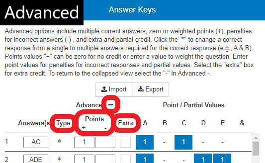 Advanced view with additional settings: question type, points, and extra credit. Click the '-' icon to hide the advanced settings.