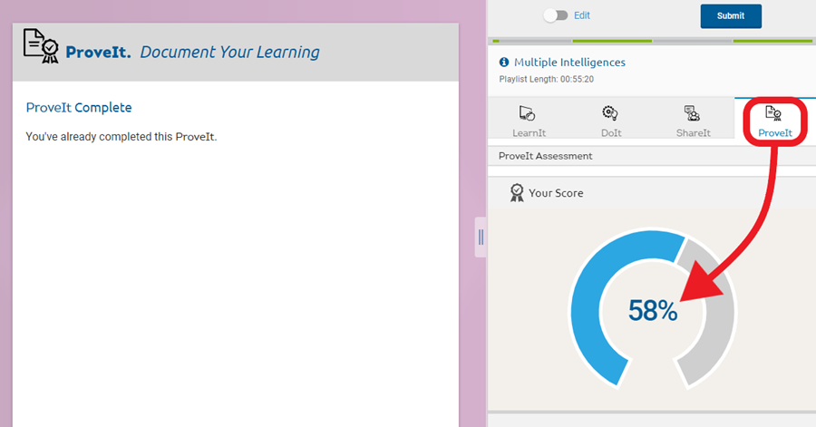 Click 'ProveIt' in the top menu to see the student's score.