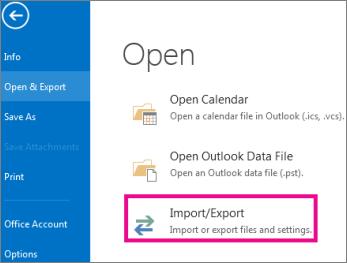 SelectFile>Open & Export>Import/Export.