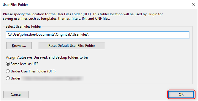 A prompt will appear requesting you to provide a location for Origin to work with files. OriginLab will give you a default location for the files, but you can change this.