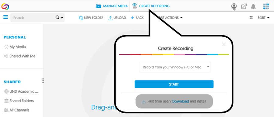 Click 'Create Recording' at the top of the page, then click 'Download' to install YuJa Software Capture. Once you have installed this program, you may click 'Start' in the same pop-up to begin your recording session.