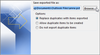 Choose a location and name for your backup file, and then selectFinish.