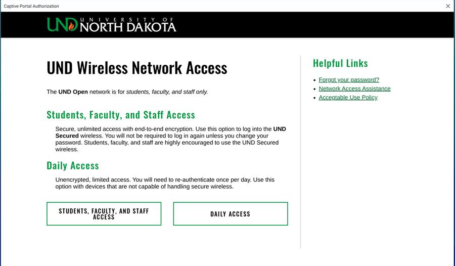 On the Captive Portal click Daily Access.