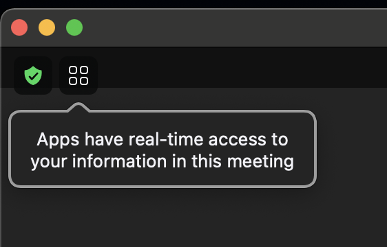 """Zoom Warning Prompt """"Apps have real-time access to your information in this meeting"""""""