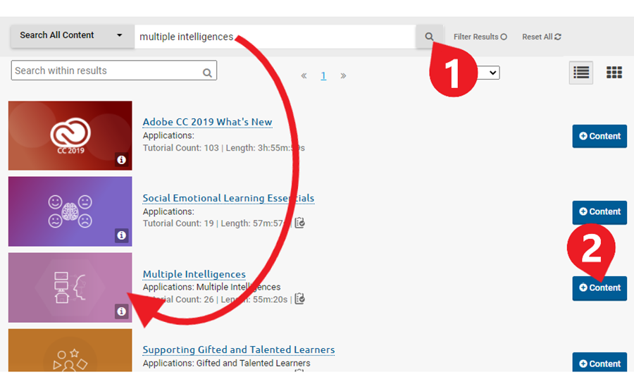 On the search results page, locate the course you would like to assign and click the + content button so view/select the content from that course.